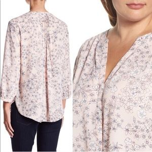 NYDJ Pin Tucked Floral Pink Blouse-3/4 Sleeve
